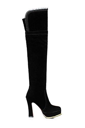JIEEME Ladies Slip-on Round Toe Block Heels Fashion Boots Black High Heels Knee-high Women Boots Black 1d6HWVm