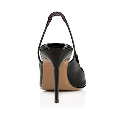 Arc-en-Ciel los zapatos de las mujeres de las bombas del alto talón del slingback del dedo del pie redondo Negro 8.5cm