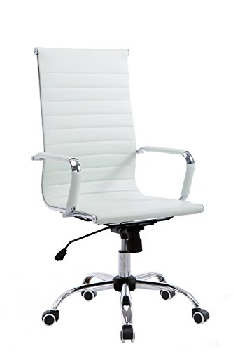 Wahson High Back Ribbed PU Leather Swivel Office Chair with Armrest Detachable, White