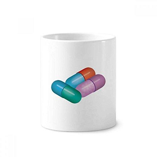 Taza de cerámica blanca con diseño de cápsulas para cepillos de dientes