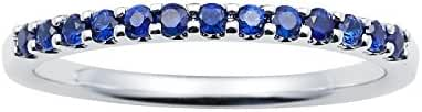 14K White Gold Blue Sapphire Birthstone Stackable Band Ring