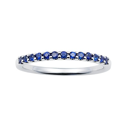 14K White Gold 1.04 Tgw. Blue Sapphire September Birthstone Stackable 2MM Band Ring by Boston Bay Diamonds
