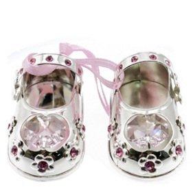 Silver Swarovski Crystal Baby Girl Pink Shoes Ornament - Christening Gift