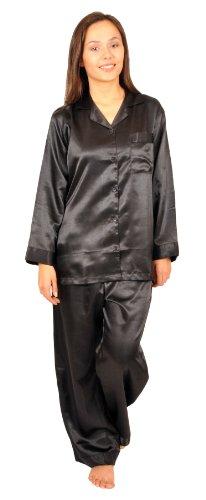 Silk Charmeuse Pants (Up2date Fashion Classic PJ Set, Five Colors, Sizes (S, M, L, XL), Style#PJ08ND (Large, Black))