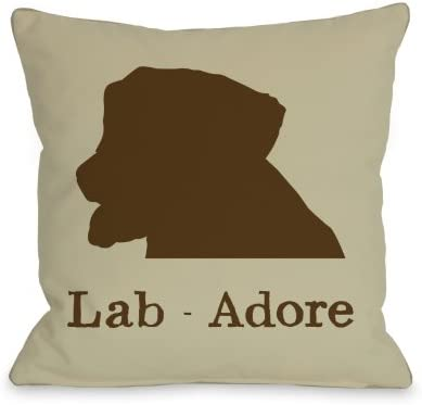 One Bella Casa Lab Adore Throw Pillow for Pets, 16 by 16-Inch