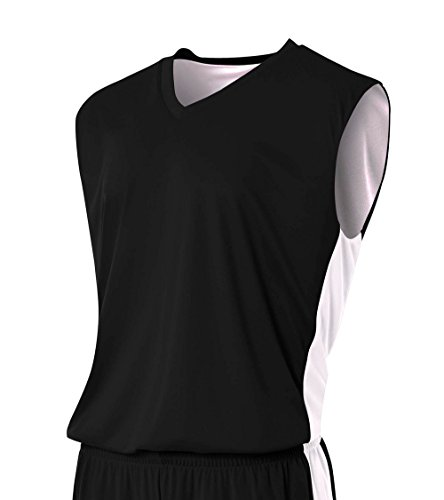 A4 Mens Reversible Moisture Management Muscle Shirt, Large, Black/White (Sleeveless Jersey Screen Print)
