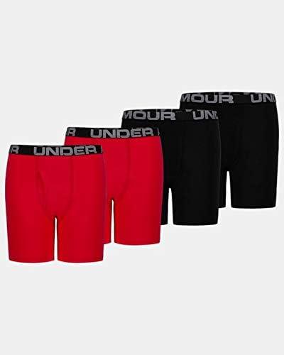Under Armour Boys' UA Cotton Boxer Briefs 4-Pack YSM Red