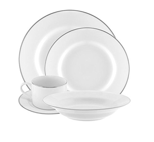 10 Strawberry Street Silver Line 20-Piece Dinnerware Set with Cup and Saucer, White with Silver Border