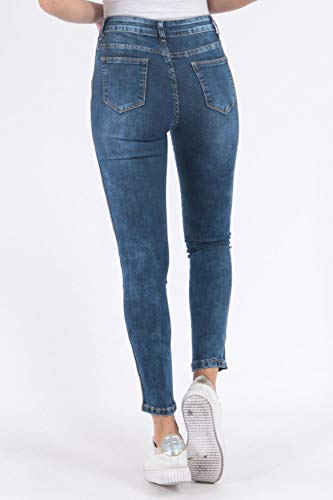 Or Pantalon Femme Rayures Jeans Bleu Jeans Stretch Skinny D2510 nZEtqO