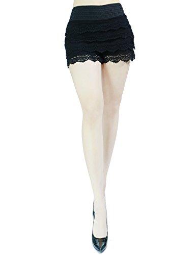 Trendy and Elegant Ruffle Design Fashion Skirt Short Pants for Women (SMALL/MEDIUM, BLACK-ML1001)