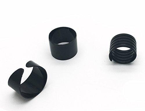 Adjustable 3pcs Fashion Women Girl Punk Style Spiral Open Stacking Rings Set Black, Size 4.5 to 7