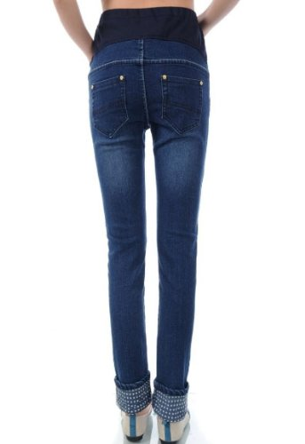 Maternity Jeans Belly Pants Elastic Pregnant Skinny Jeans (Size XXL)