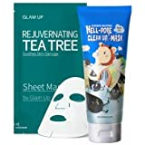 Elizavecca milkypiggy Hell-Pore Clean Up Nose Mask & Sheet Mask by Glam Up BTS Rejuvenating Tea Tree - Soothing, Calming damaged skin, Remove impurity.