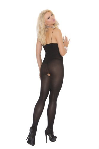 Elegant Moments Women's Plus-Size Opaque Bodystocking with Open Crotch