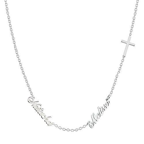 Ouslier Personalized 925 Sterling Silver Double Name Necklace with Cross Pendant Custom Made with 2 Names (Silver)