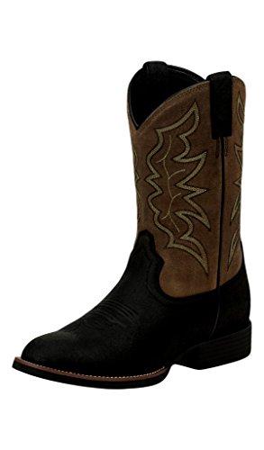 Justin Men's Stampede Round Toe Western Boots, Black, - Justins Boots Black