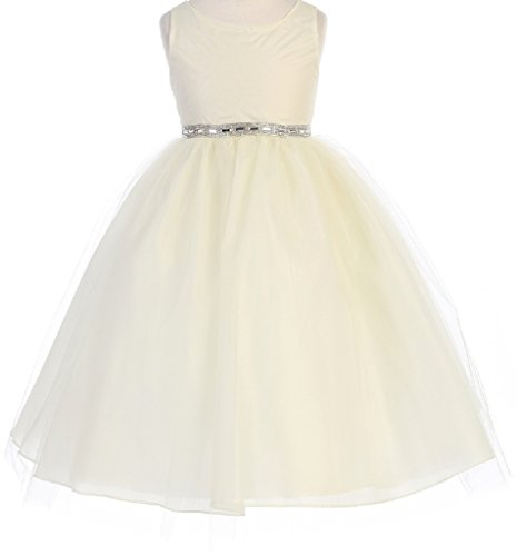 Little-Girls-Sparkle-Rhinestone-Waist-Band-Tulle-Flowers-Girls-Dresses