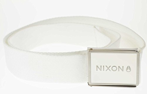 Nixon Woven Wordmark Belt Metal Buckle 30 Inch Up To 42 Inch White Unisex