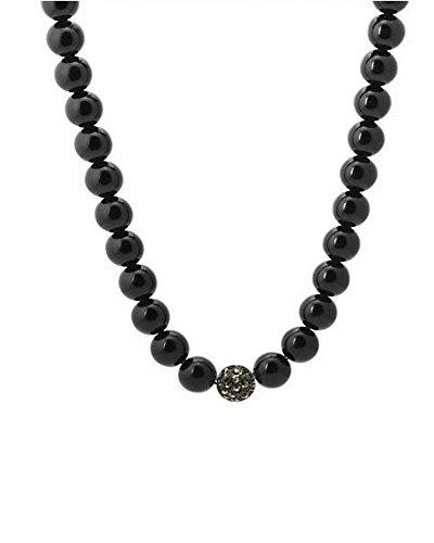 Crystal Hematite 10mm Black Beads Balls Hip Hop Long Macrame Necklace 27
