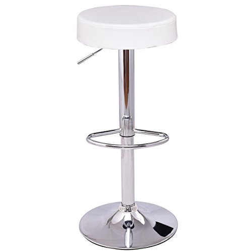tool Round PU Leather Height Adjustable Chair Pub Stool w/Chrome Footrest (White, 1 pc) (Round Backless Swivel Stool)