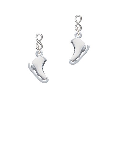 Silvertone 3-D White Ice Skate Infinity Post Earrings