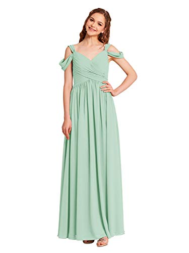 Alicepub Pleated Chiffon Maxi Plus Size Bridesmaid Dress Long Formal Event Dress for Party, Mint Green, US20