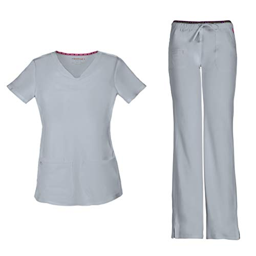 HeartSoul Women's Pitter-Pat Shaped V-Neck Scrub Top 20710 & Heartbreaker Heart Soul Drawstring Scrub Pants 20110 Medical Scrub Set (Grey - XX-Large/XL Petite)