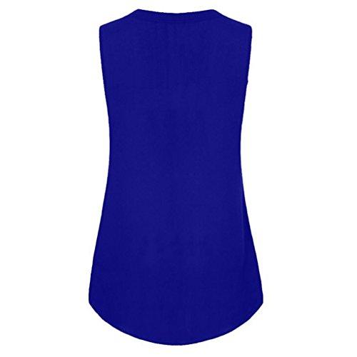Dbardeur Mode Lache Bleu Tops Unie Dcontracte Femme Cinnamou Sans V Pour Femmes Manches Gilet Col D't Blouse Chemise Sexy Solide Couleur F1UY1w