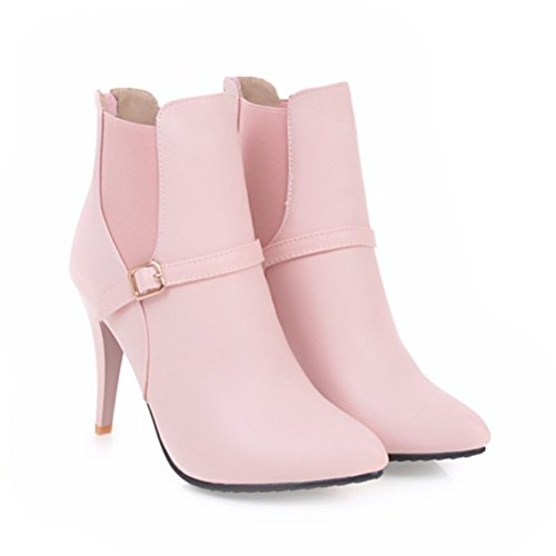 Heels Elegant Zip Wedding Boots Ankle Pink With Toe Womens Stiletto Agodor Shoes High Pointed 1f6fBq