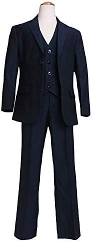 スリーピース(ジャケット ベスト パンツ 3点セット)高級仕立て 男の子 フォーマル (JPBt) ネイビー 125cm-150cm