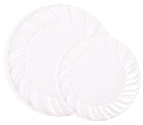 Pieces De Collections (Party Joy 200-Piece Plastic Dinnerware Set | Flairs Collection | (100) Dinner Plates & (100) Salad Plates | Heavy Duty Premium Plastic Plates for Wedding, Parties, Camping & More (Clear Frosted))