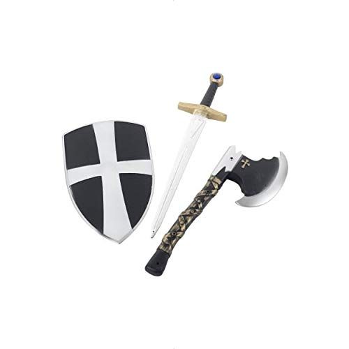Smiffys Kids Crusader Set, White, Shield, Sword and Axe, 19inches, One Size, 31350]()