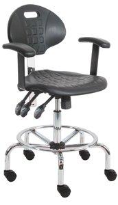 Polyurethane Chair/Stool with Chrome Base and Armrest, 450 lbs Capacity, 18.5