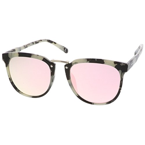 sunglassLA - Horn Rimmed Square Mirror Metal Bridge Flat Lens Sunglasses 55mm (Black White Marble / Pink - Sunglasses Asos Wayfarer