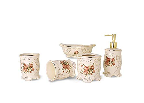 YALONG 5-Piece Red Rose Floral Ceramic Bathroom Accessory Set, Includes Soap/Lotion Dispenser, Toothbrush Holder, Tumbler, and Soap Dish for Father's Day - European Bed Ensemble
