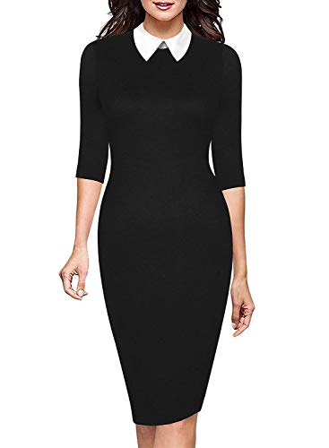 Collar Dress Suit - Ranphee Women's 3/4 Sleeve Peter Pan Collar Wear to Work Slim Business Pencil Dress