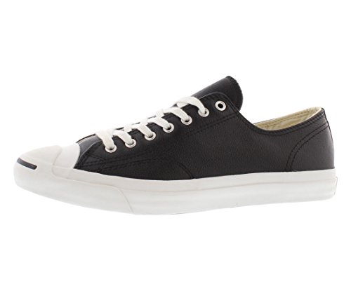 Converse Jack Purcell Leather Fashion-Sneakers, Black/White, 9.5 B(M) US Women / 8 D(M) US - White Leather Tumbled Footwear