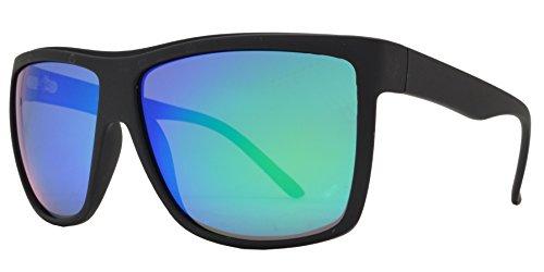 Fashion Eyelinks - Polarized Soft Rubber Rectangular Plastic Sunglasses (Soft Black Frame + Blue Green Mirror - Blue Sunglasses Mirror