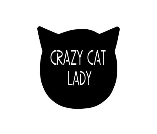 Precision Metal Art Cat Silhouette Metal Laser Cut Wall Art Featuring a Script Cut-Out of Crazy Cat Lady 15