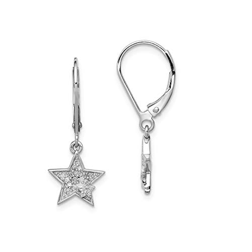 925 Sterling Silver Diamond Star Leverback Earrings Lever Back Drop Dangle Celestial Fine Jewelry For Women Gift Set
