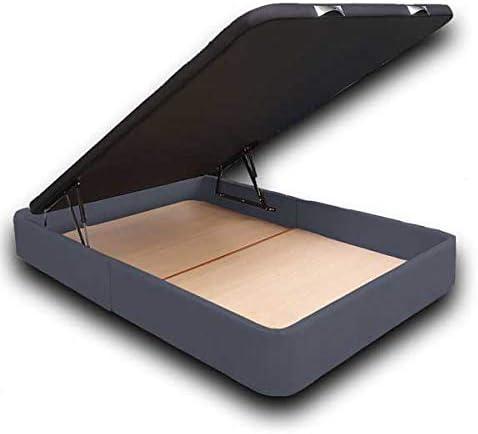 Ventadecolchones - Canapé Abatible Serena Gran Capacidad Tapizado en Tela Antimanchas Essence Gris Antracita Medidas 150 x 190 cm en Tejido 3D