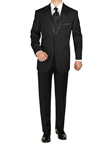 GN GIORGIO NAPOLI Men's Tuxedo Suit 1 Button Peak Lapel Adjustable Pants Black (46 Long US / 56L EU/W 40