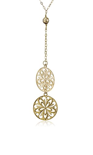 14k Yellow Gold Floral-Disc Lariat Armament Necklace, 17'' by Amazon Collection