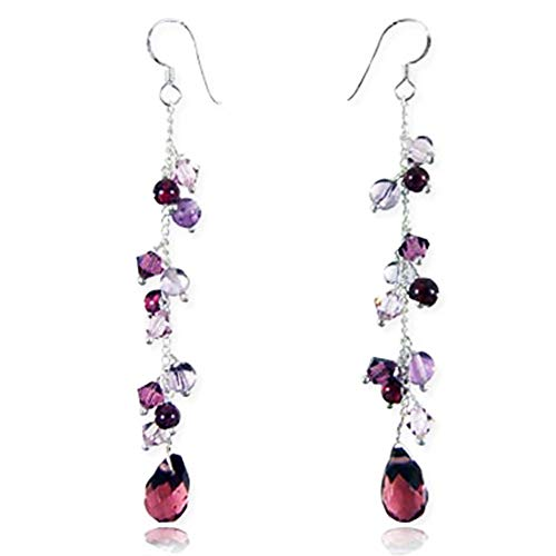 925 Sterling Silver Lavender Purple Crystal Beads Long Drop Dangle Earrings