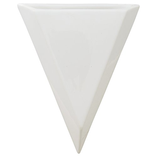 Rivet Modern Triangular Earthenware Wall Mount Planter, 7H, White