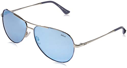 Revo Unisex RE 1014 Relay Aviator Polarized UV Protection Sunglasses, Polished Chrome Frame, Stealth Lens