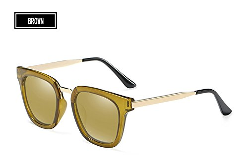 hombres brown de brown D'epoca sol del del Sunglasses Piazza dibujo TL gafas polarizadas Unisex mujeres metal de AZWacnpUnx