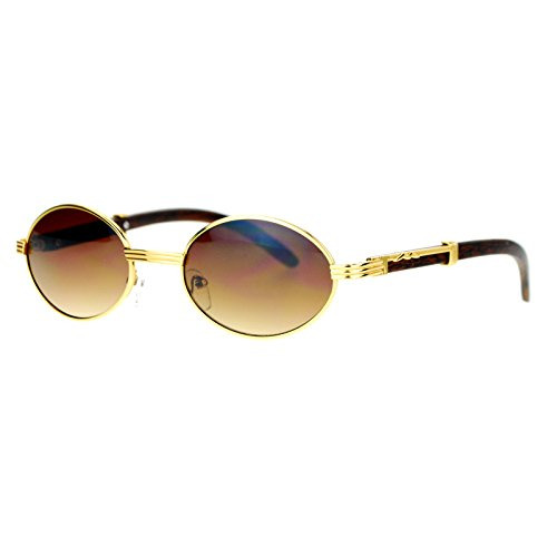 (SA106 Retro Art Nouveau Vintage Style Small Oval Metal Frame Sunglasses Yellow Gold)