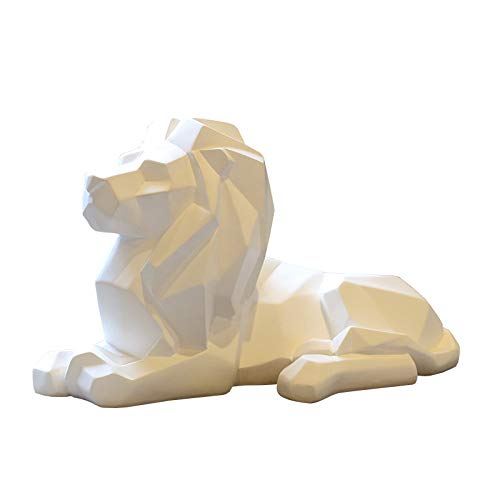 Resin Abstract Black White Lion Sculpture Statue Crafts Home Desk Decoration Geometric Resin Wild Animal Lion Statue Craft (White)
