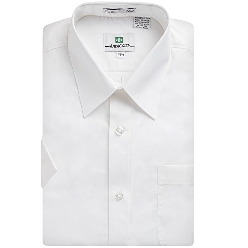 Ampaco Men's Regular Fit Short Sleeve Easy Care Solid White Dress Shirt